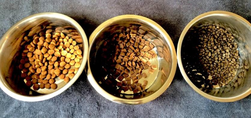 So sieht das jeweilige Trockenfutter aus v.l.n.r. ROYAL CANIN, PLATINUM und WOLFSBLUT
