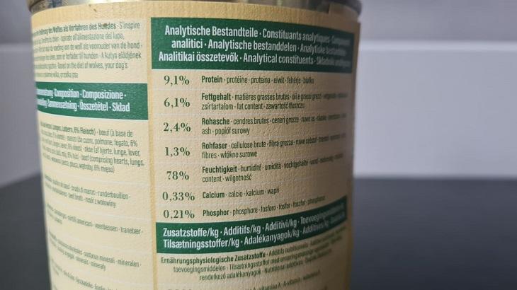 Die analytischen Bestandteile im Real Nature Wilderness Rind Pur.