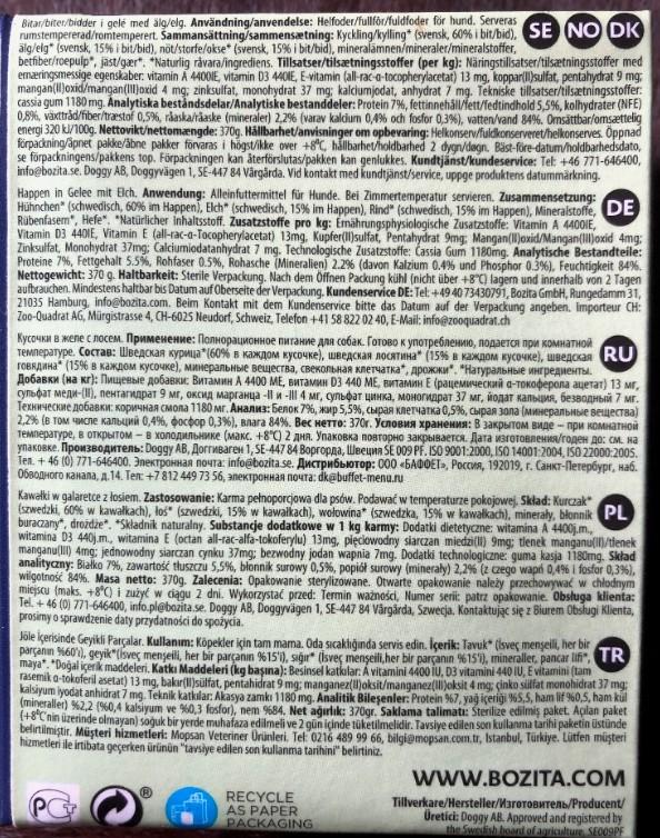 Die Deklaration auf der Tetra Retart Verpackung vom Bozita Nassfutter mit Elch