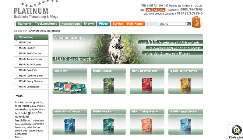 Erfahrungen mit PLATINUM Hundefutter: Das sind die Nassfutter Sorten.